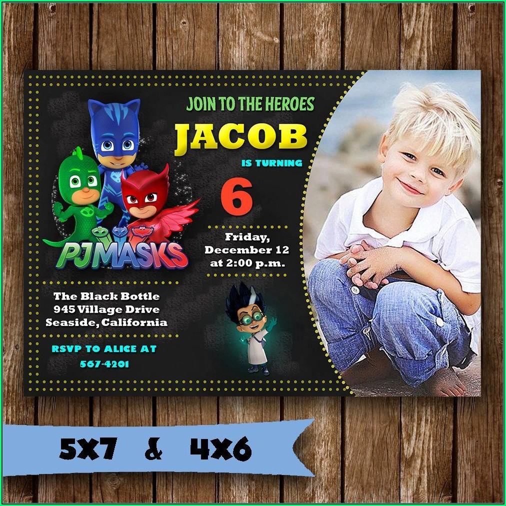 Pj Mask Birthday Invitation Template