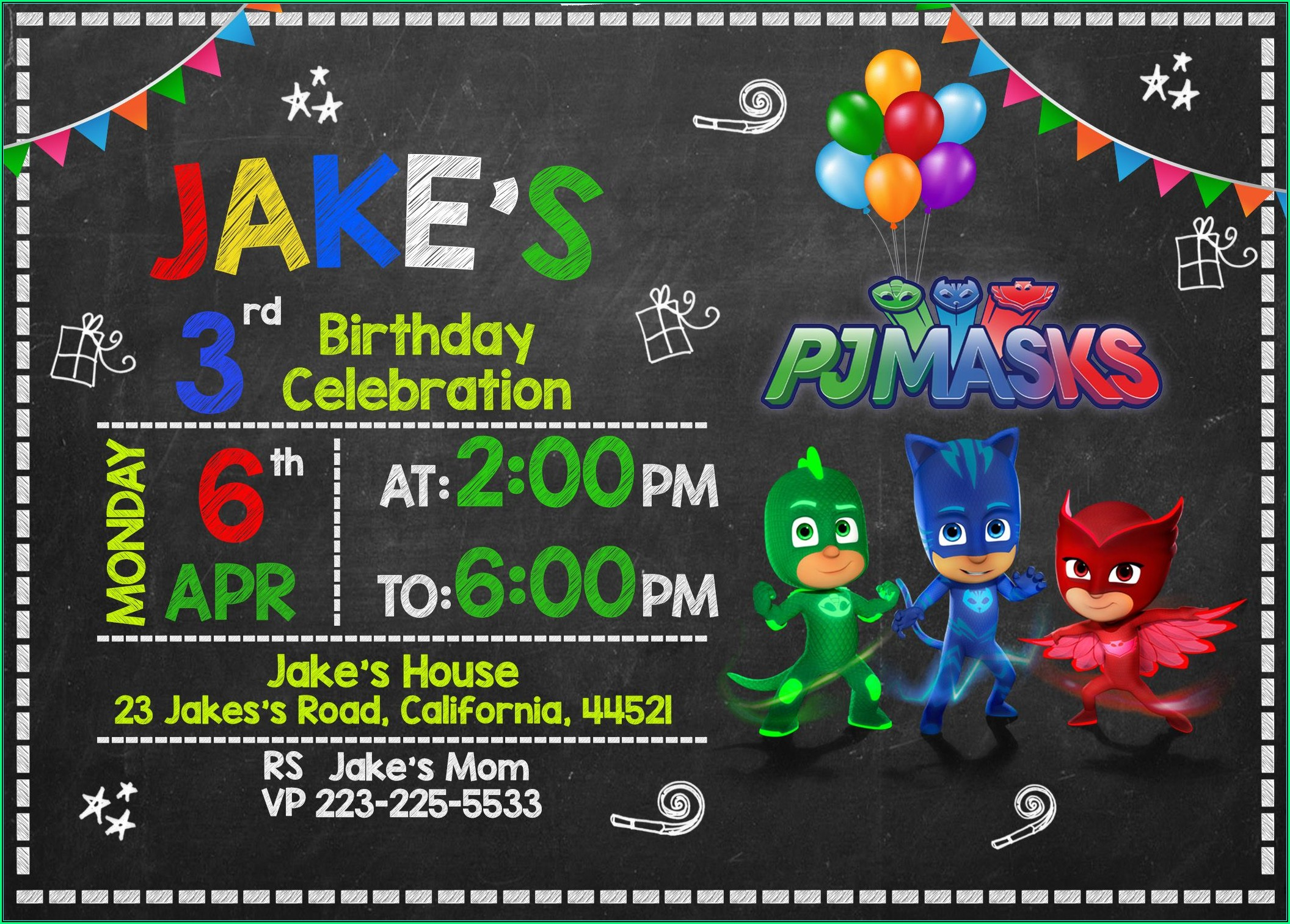 Pj Mask Invitation Designs