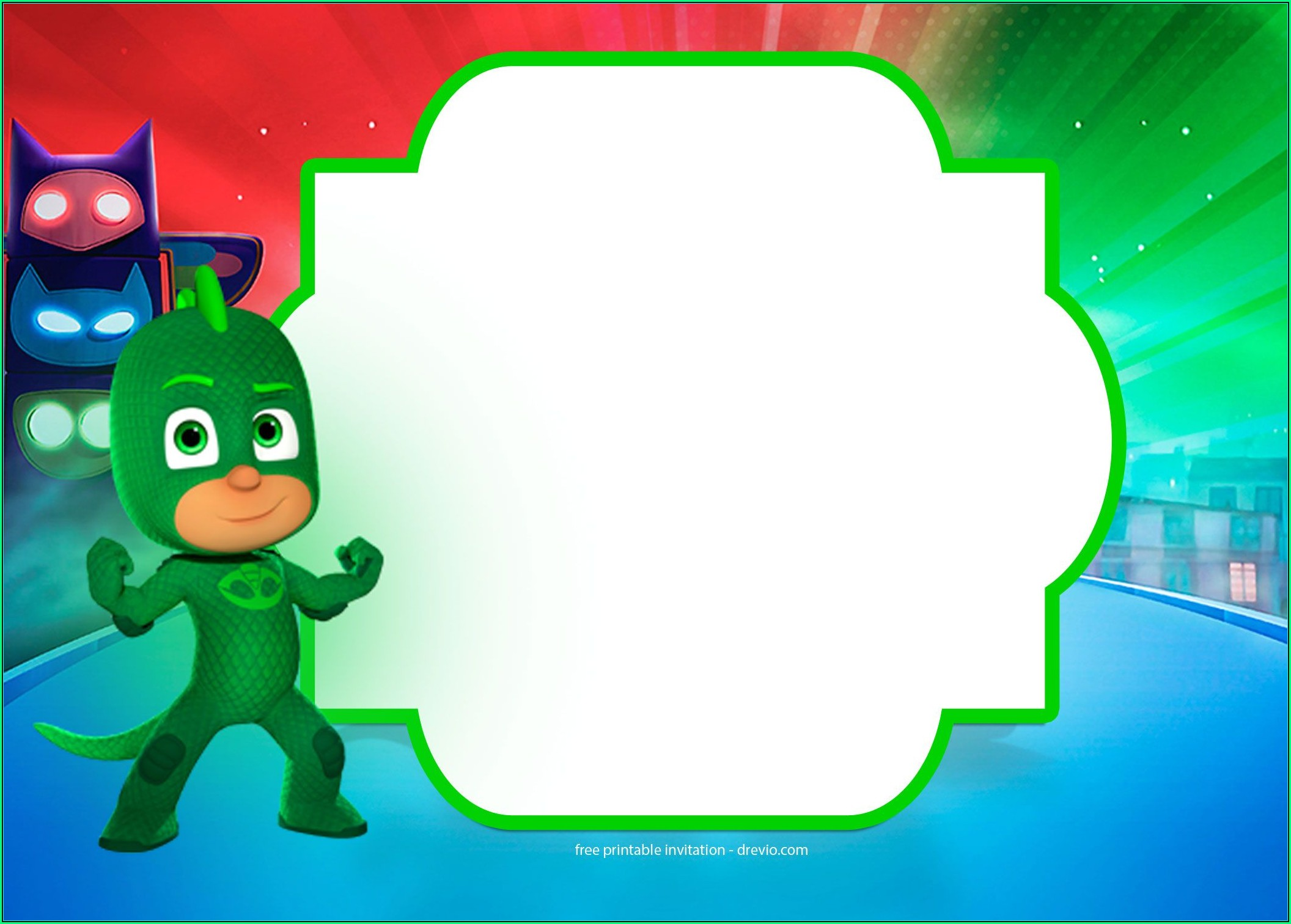 Pj Mask Invite Template