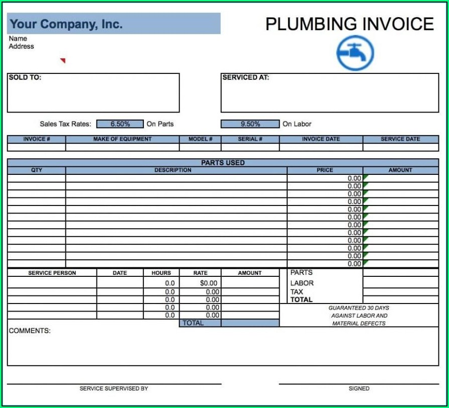 Plumbing Invoice Template Word