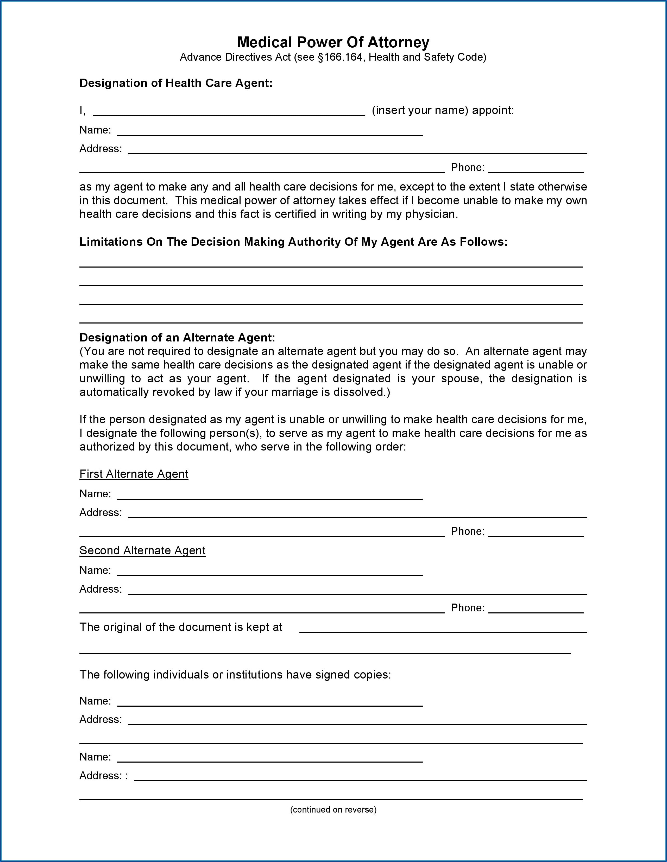Power Of Attorney Template Download