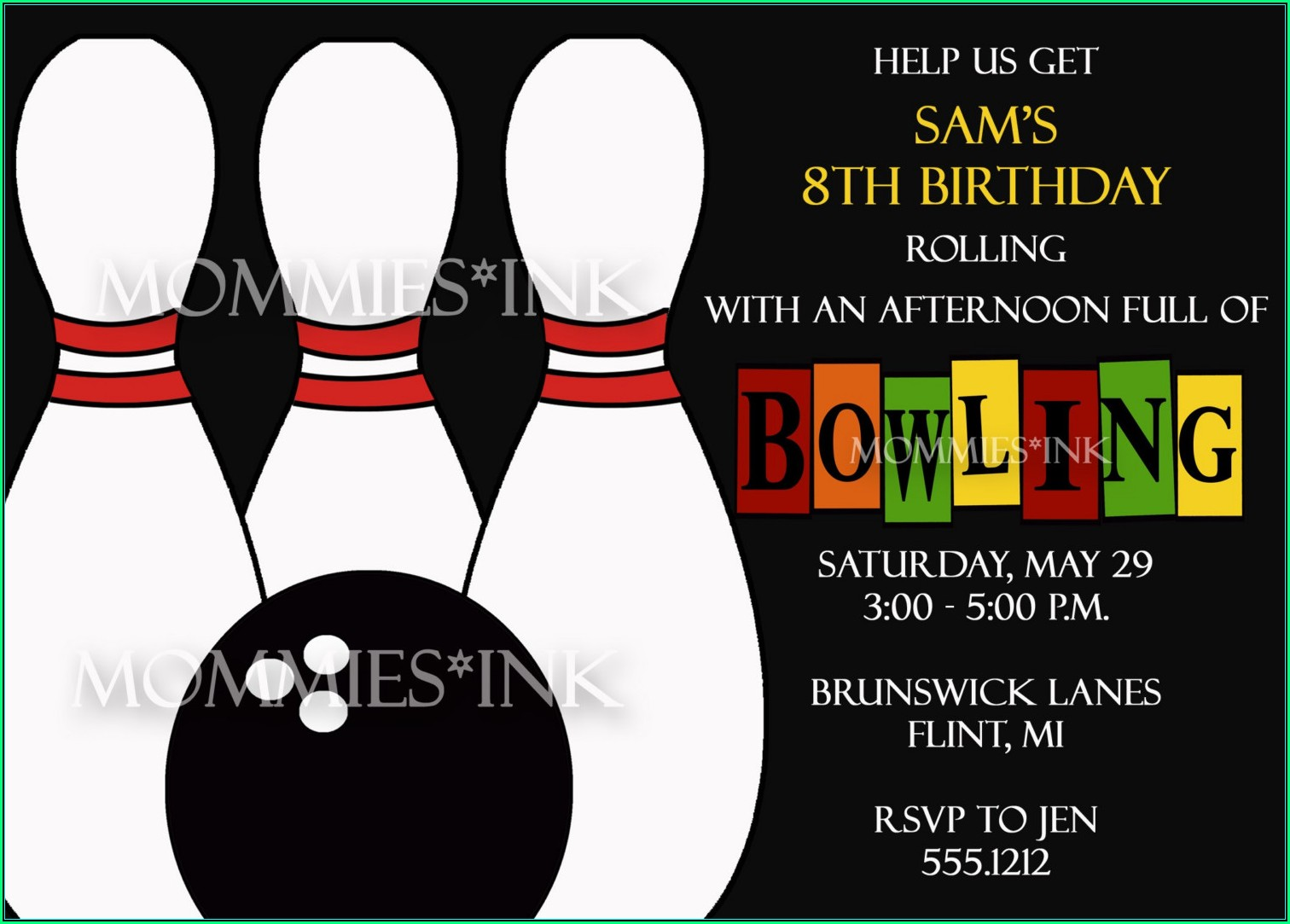 Printable Bowling Invitation Templates