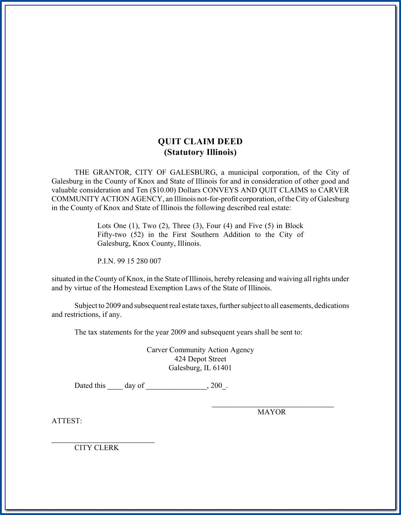 Printable Quit Claim Deed Form Free Illinois