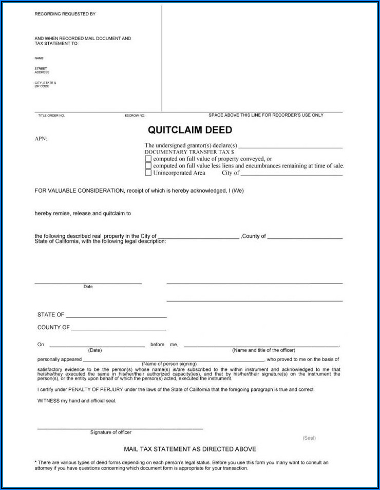 Printable Quit Claim Deed Form Georgia