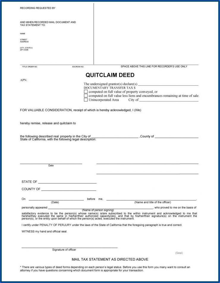 Printable Quit Claim Deed Form Georgia