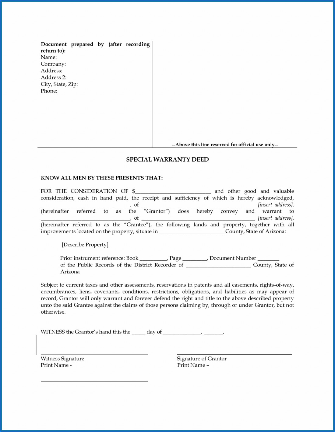 Printable Quit Claim Deed Form Michigan