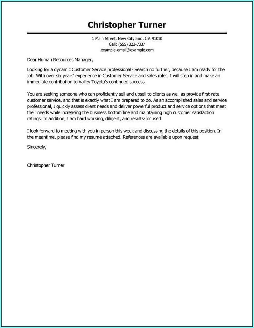 Professional Cover Letter For Resume Sample