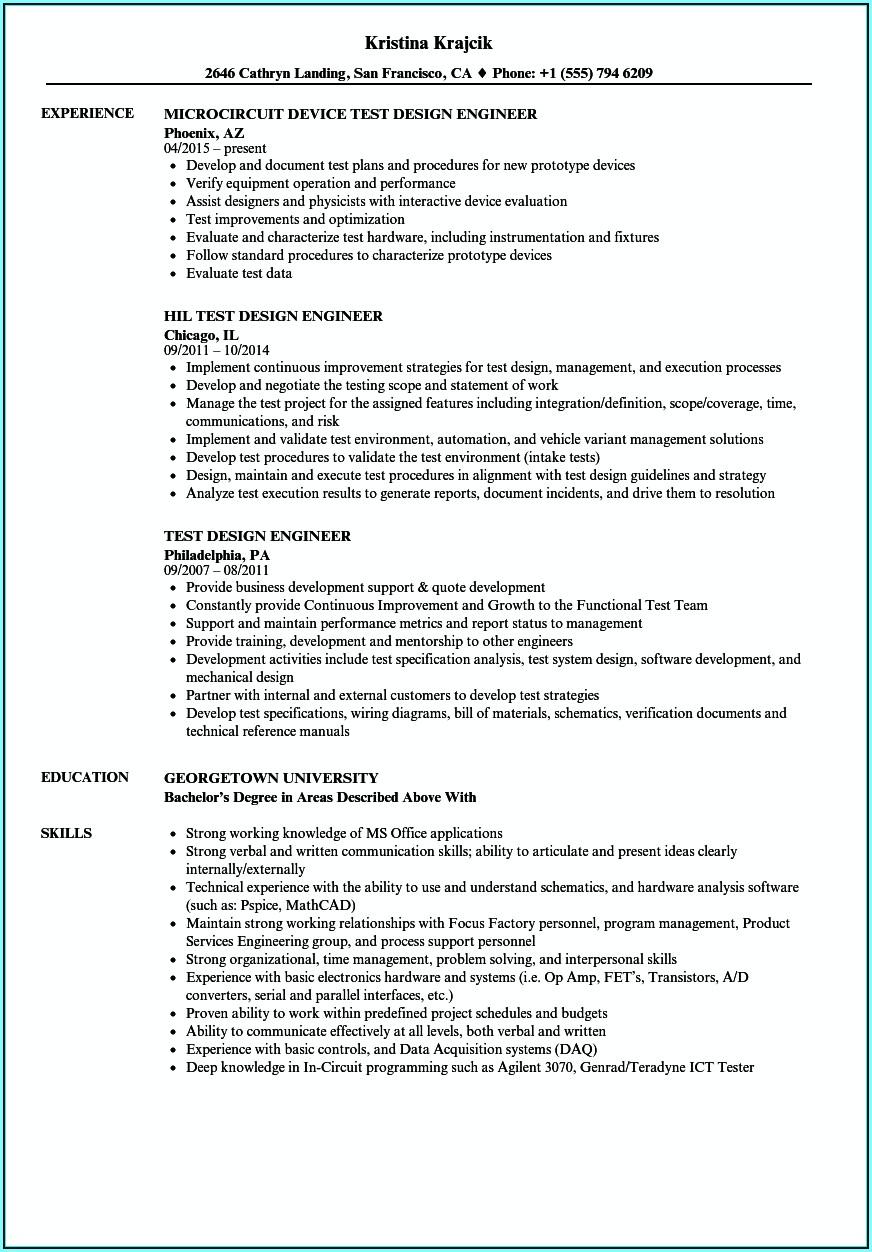 Qa Automation Resume Template