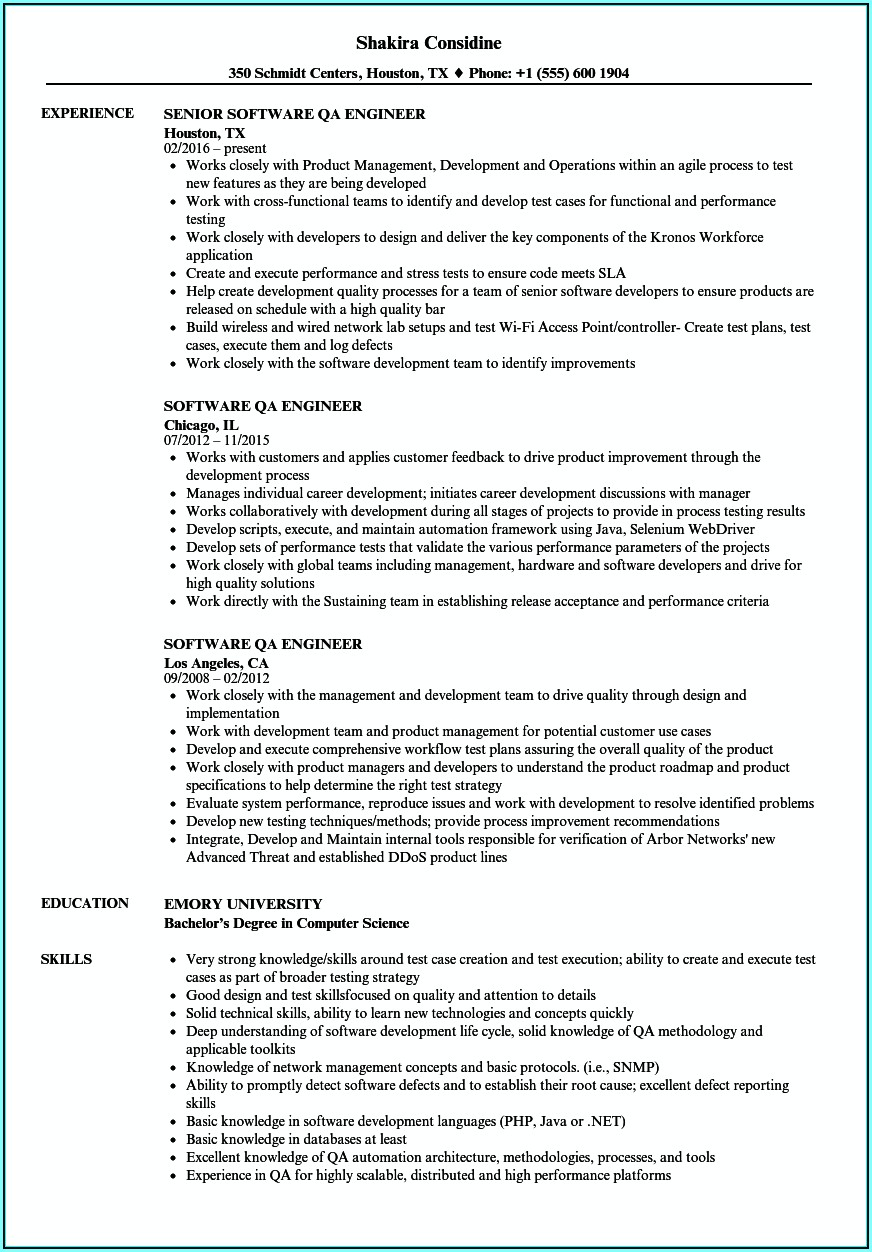 Qa Engineer Resume Template