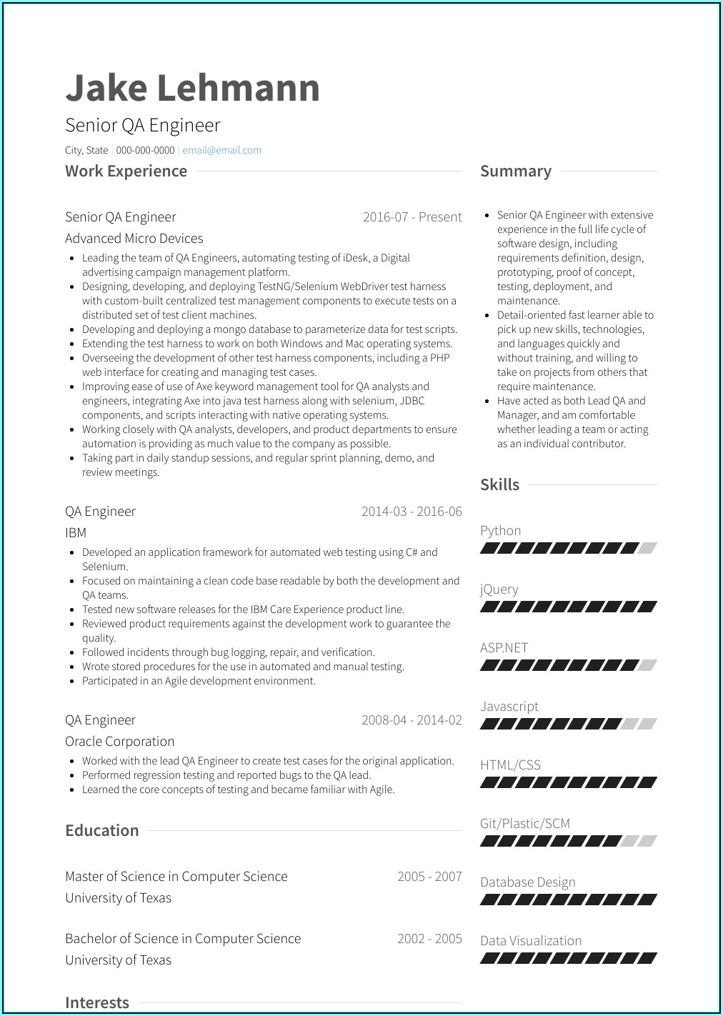 Qa Resume Template