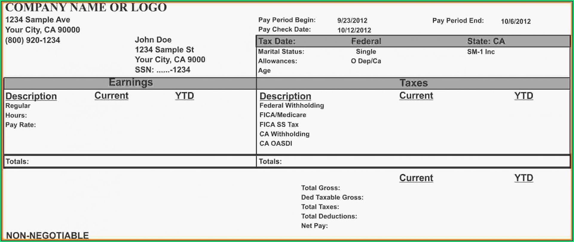 Quickbooks Payroll Stub Template