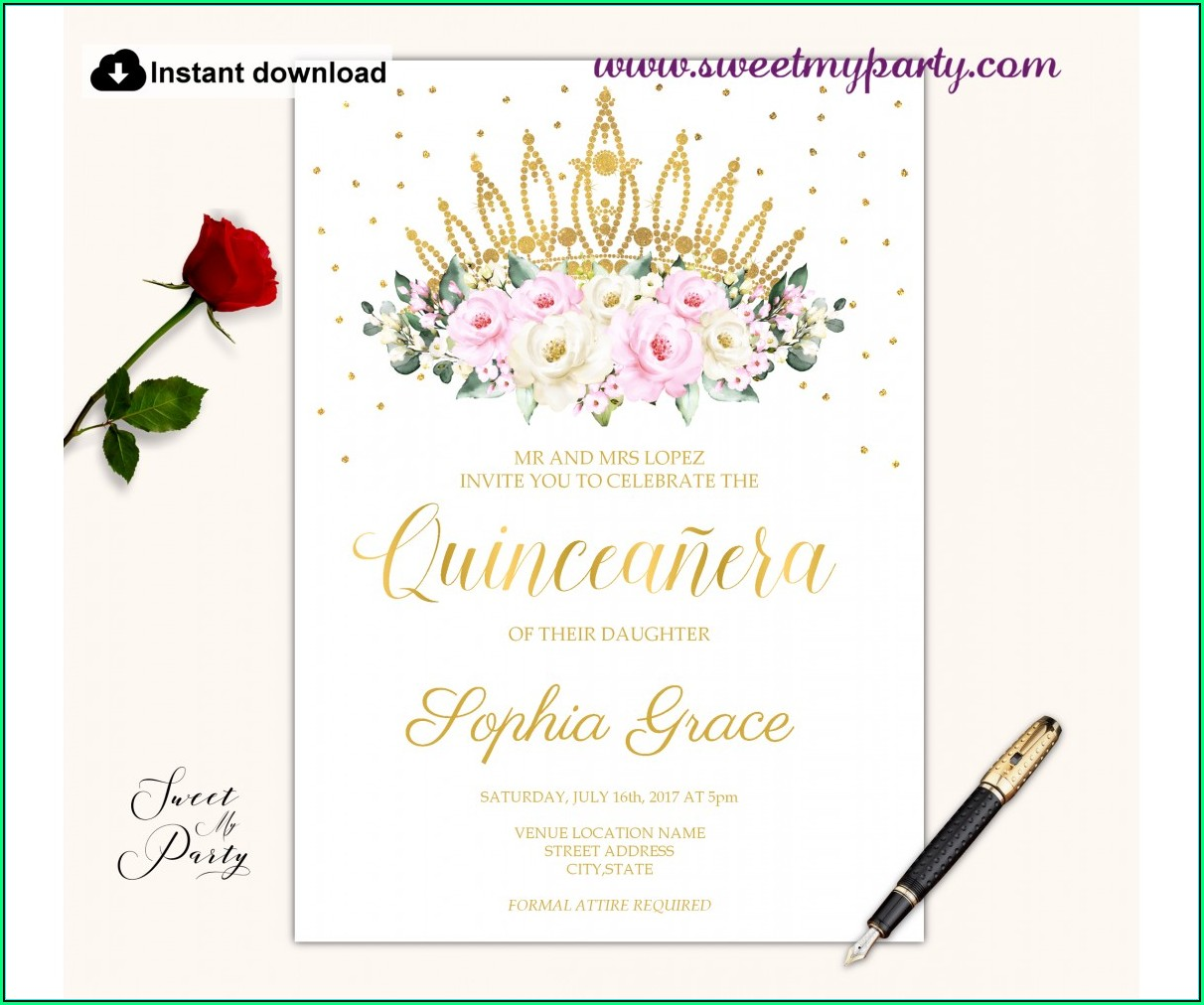 Quinceanera Invitations Templates Download