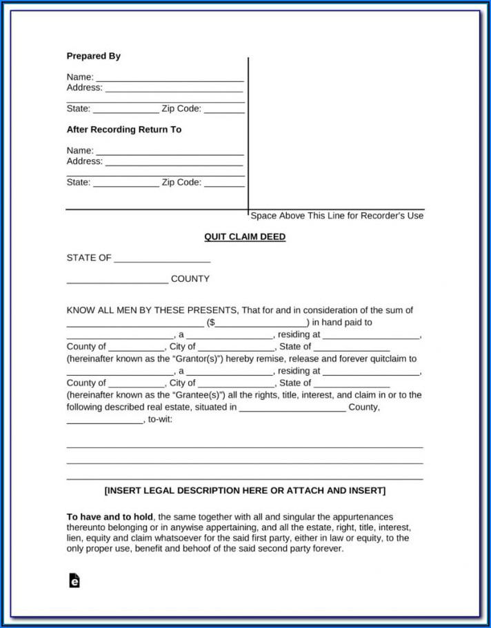 Quit Claim Deed Form Florida Sample