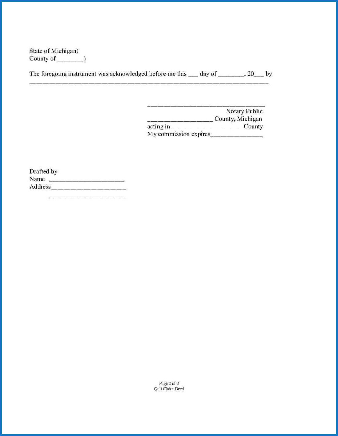 Quit Claim Deed Form Illinois Sample