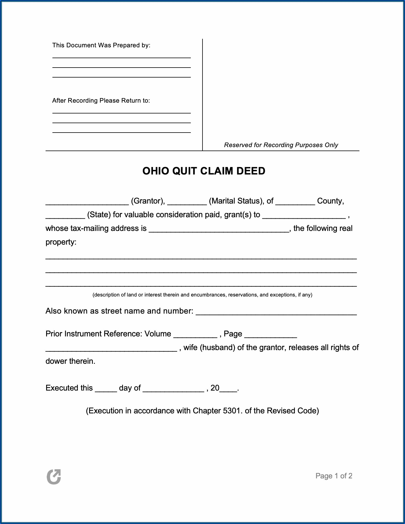 Quit Claim Deed Form Ohio