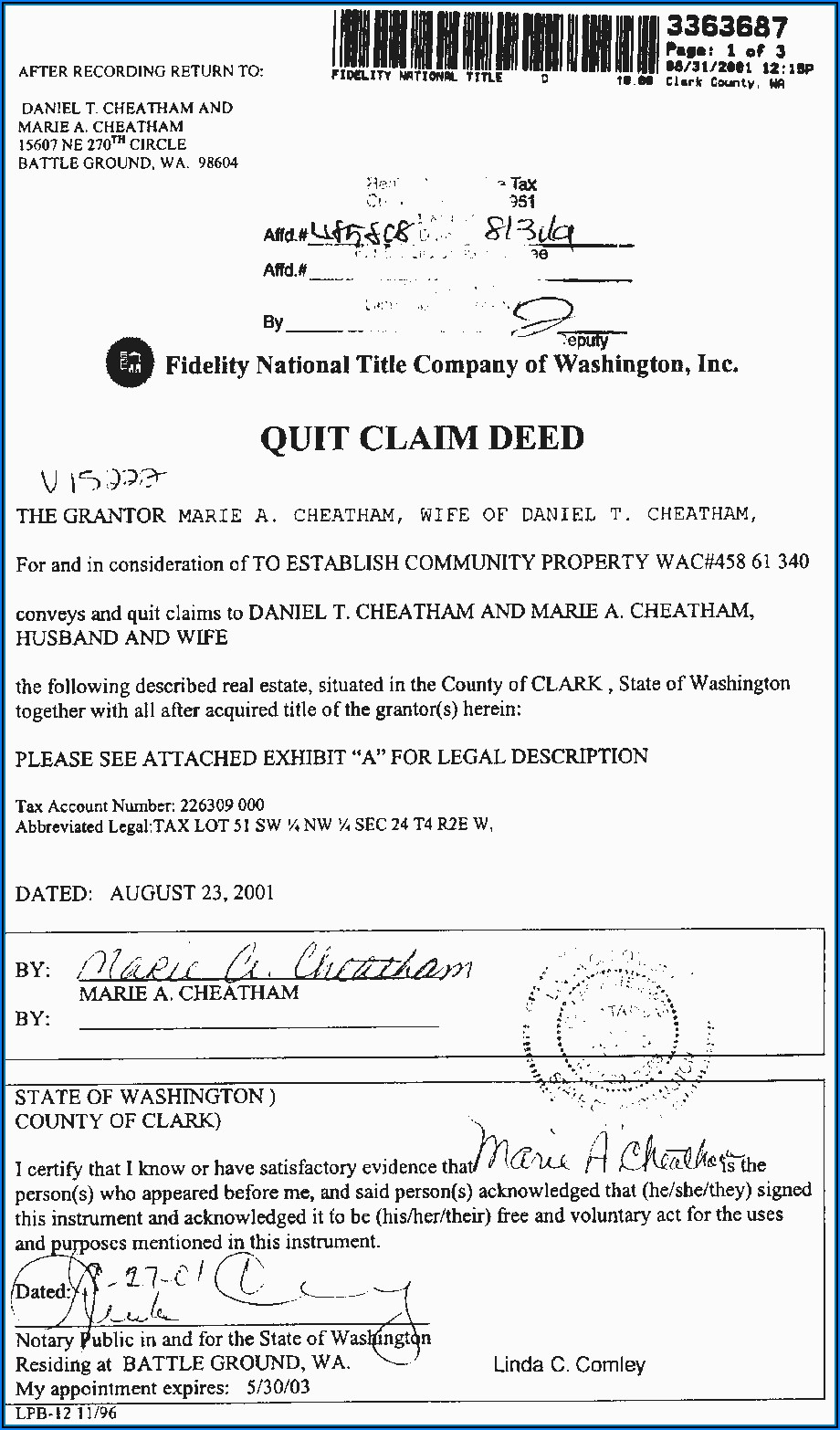 Quit Claim Deed Sample