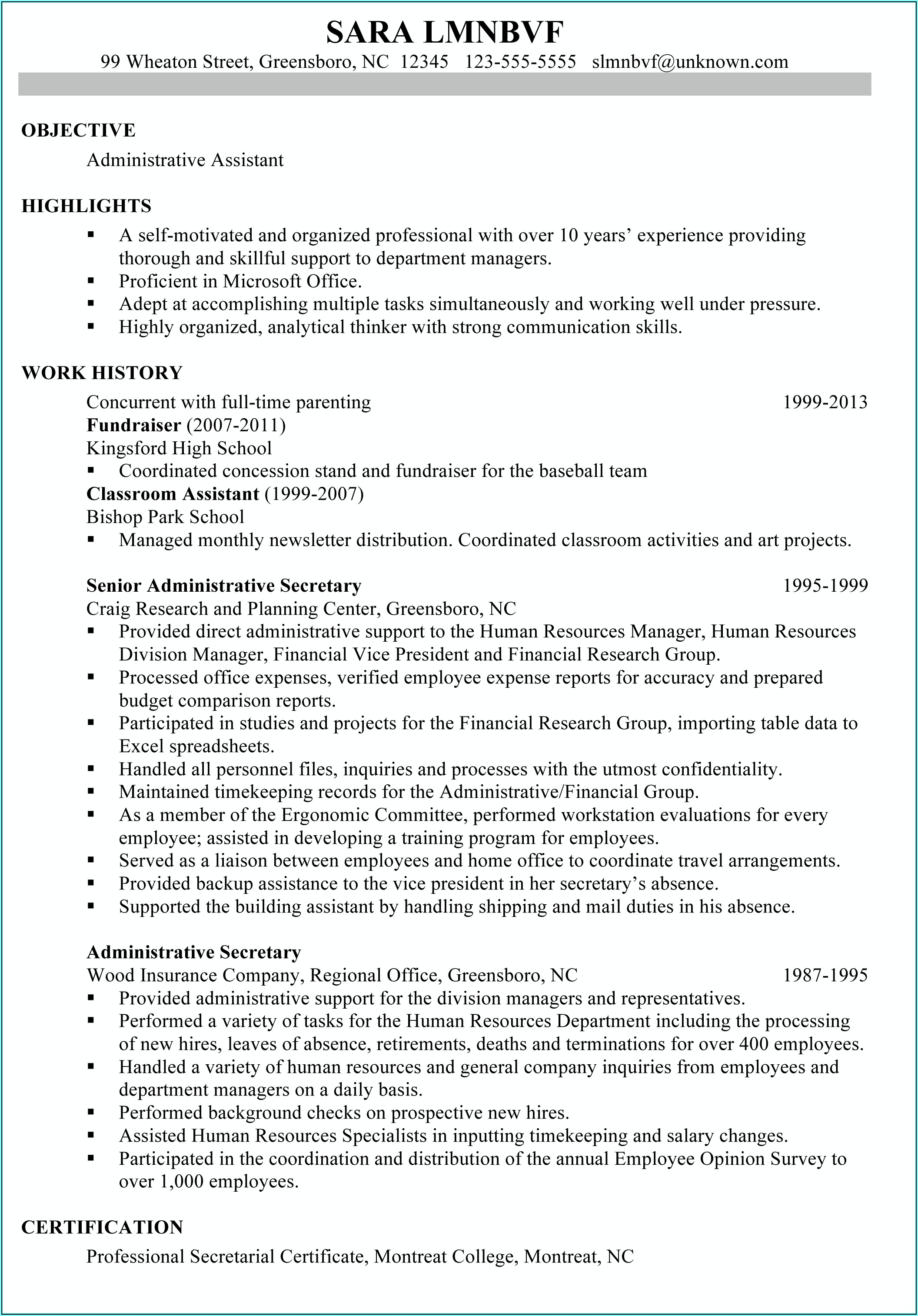 Ready Made Resume For Job