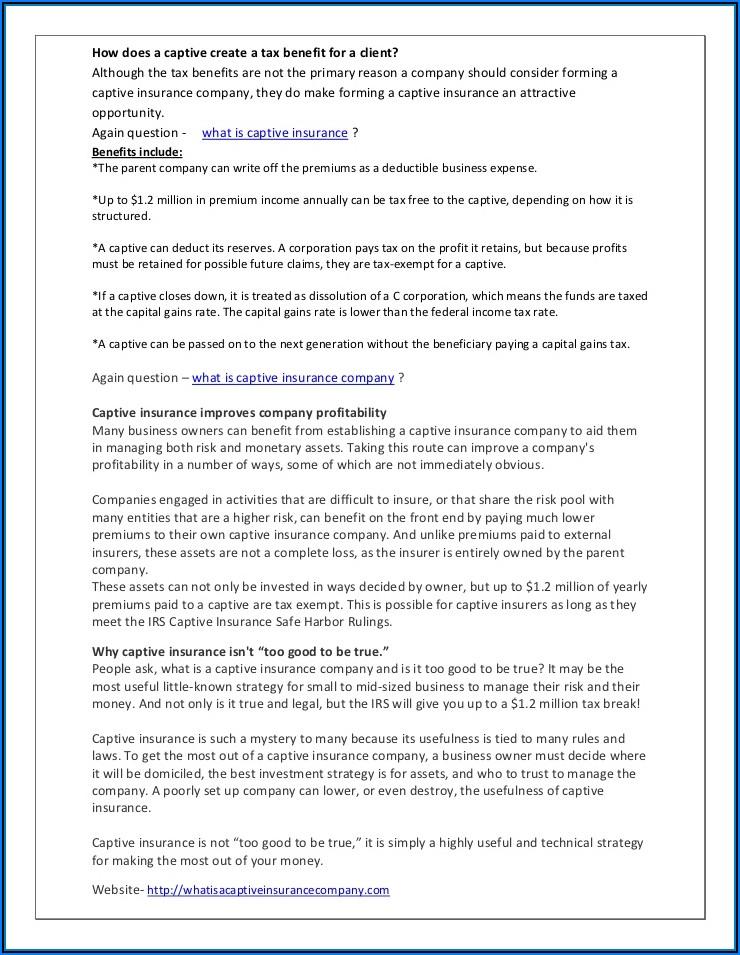 Reasons For Forming A Captive Insurance Company