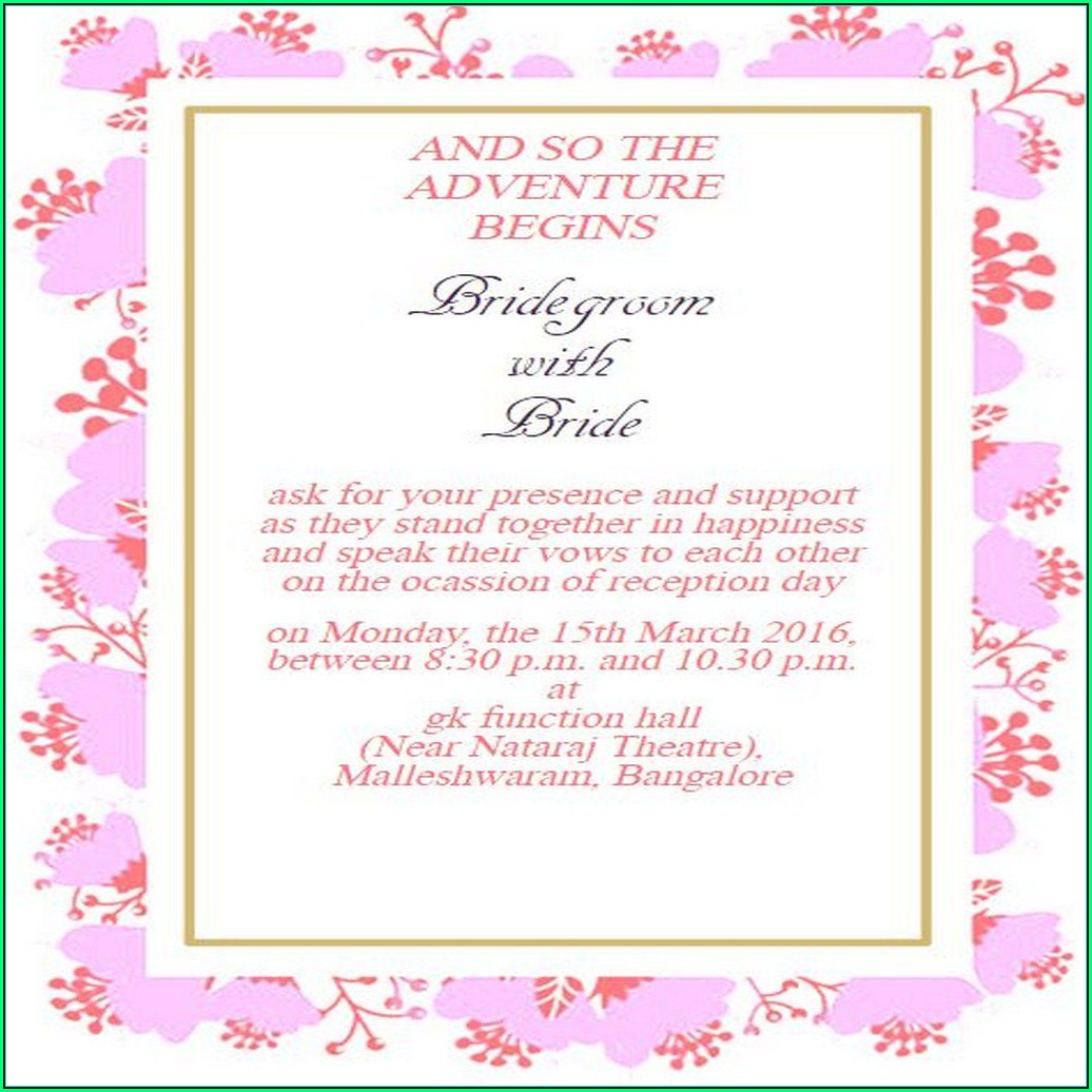Reception Invitation Template Online