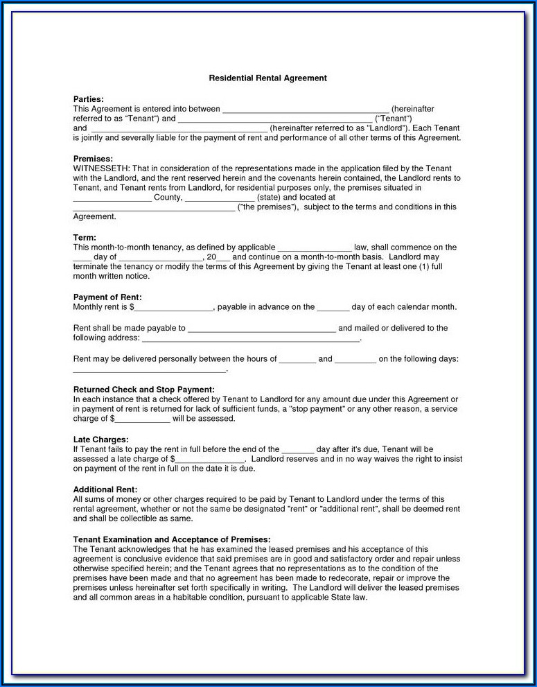 Rental Agreement Form Nevada