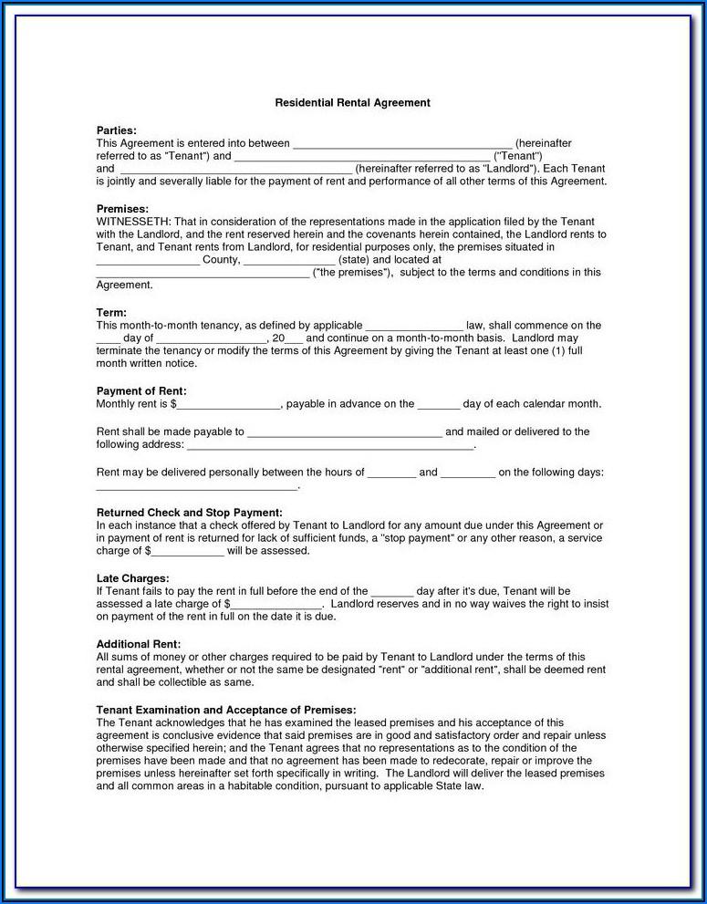 Rental Agreement Form Nevada