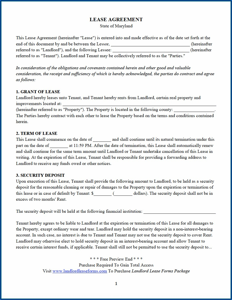 Rental Application Form Maryland Pdf