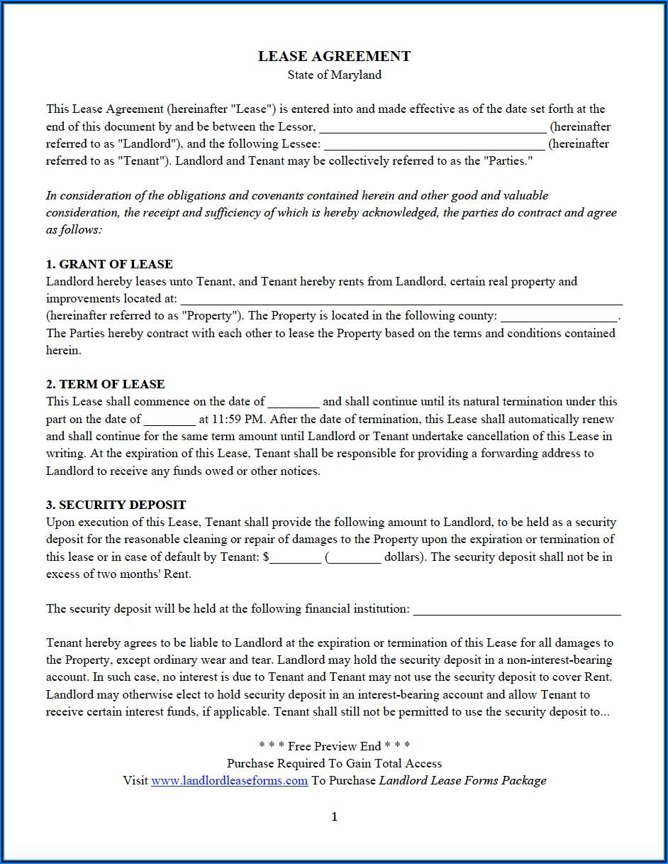 Rental Application Form Maryland Pdf