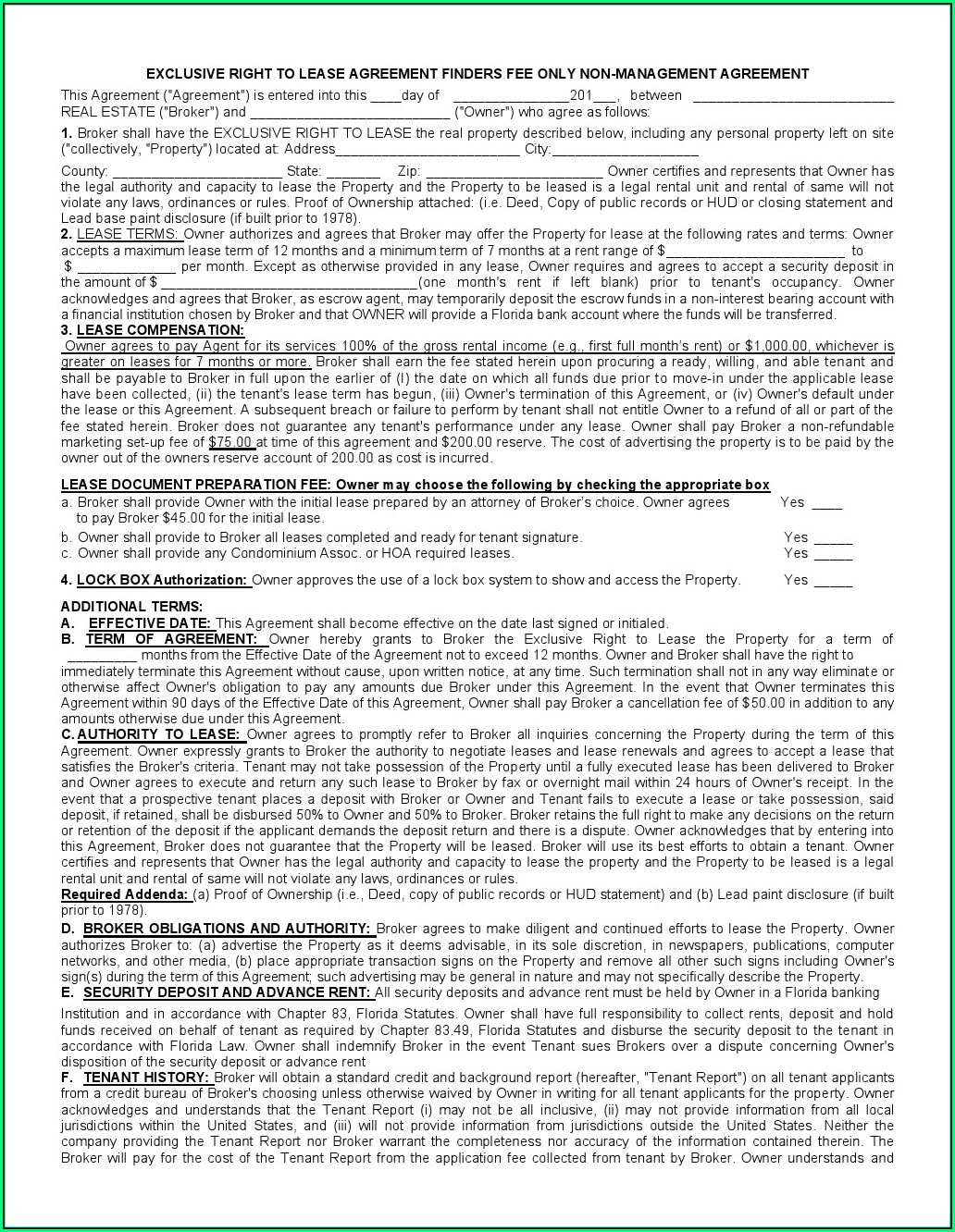 Rental Lease Agreement Template Free Download
