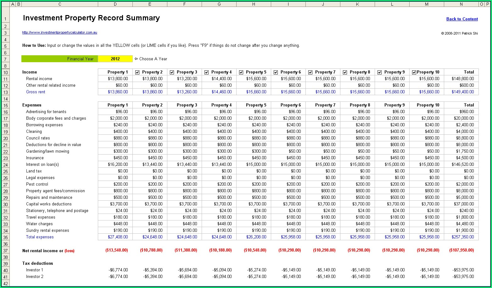 Rental Property Expenses Spreadsheet Template