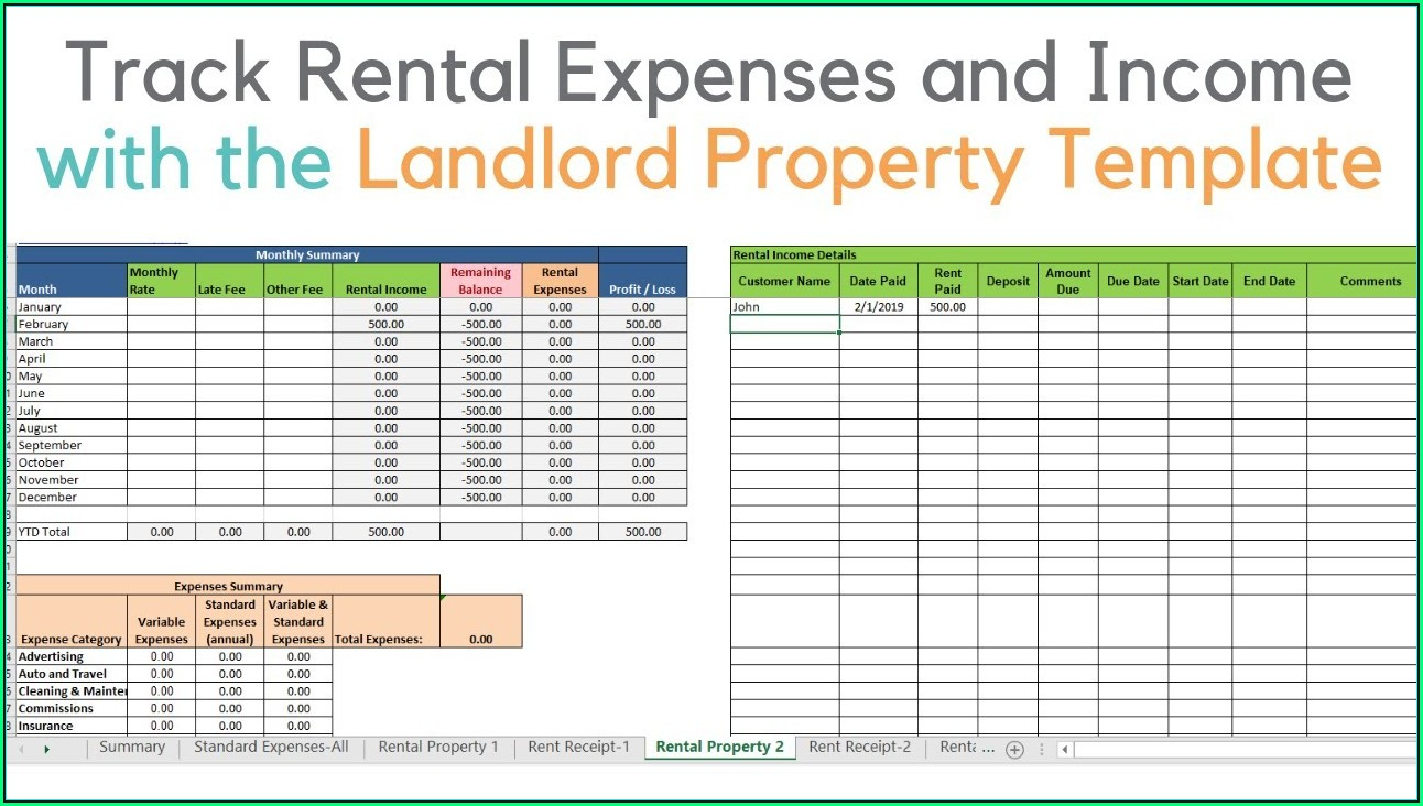 Rental Property Spreadsheet Template Nz