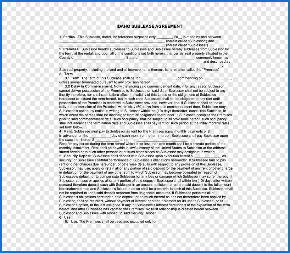 Rental Sublease Agreement Form