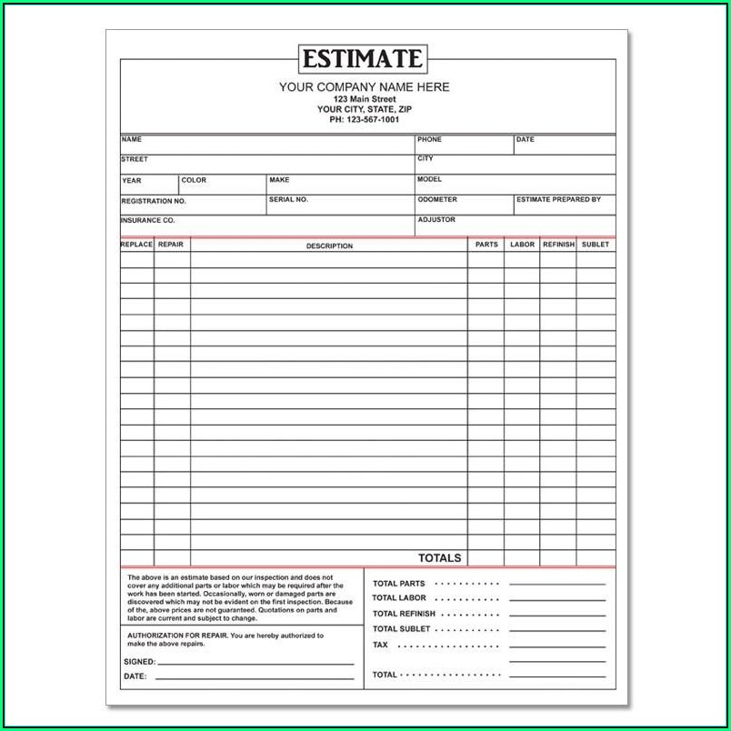 Repair Order Template Garage