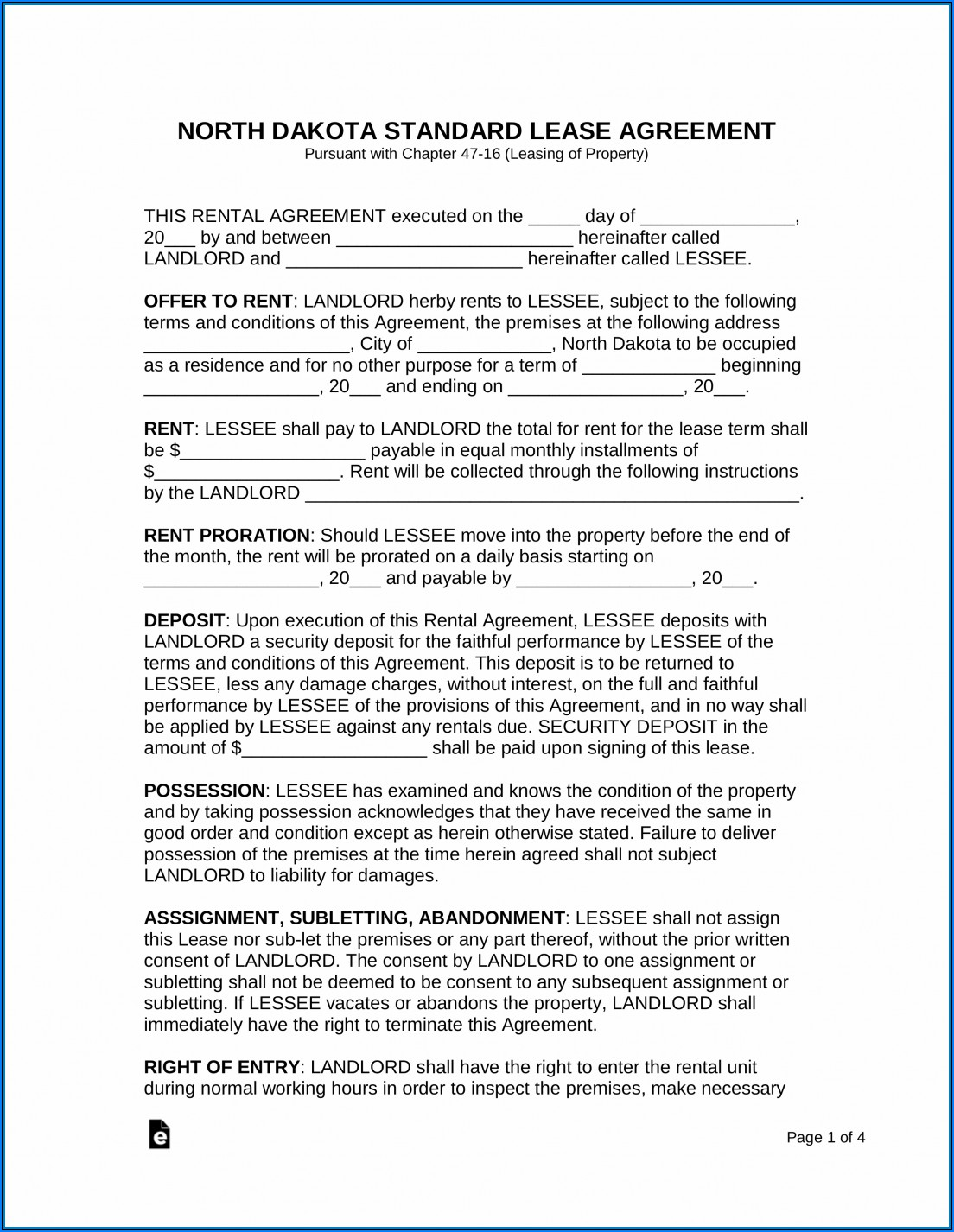 Residential Lease Agreement Il