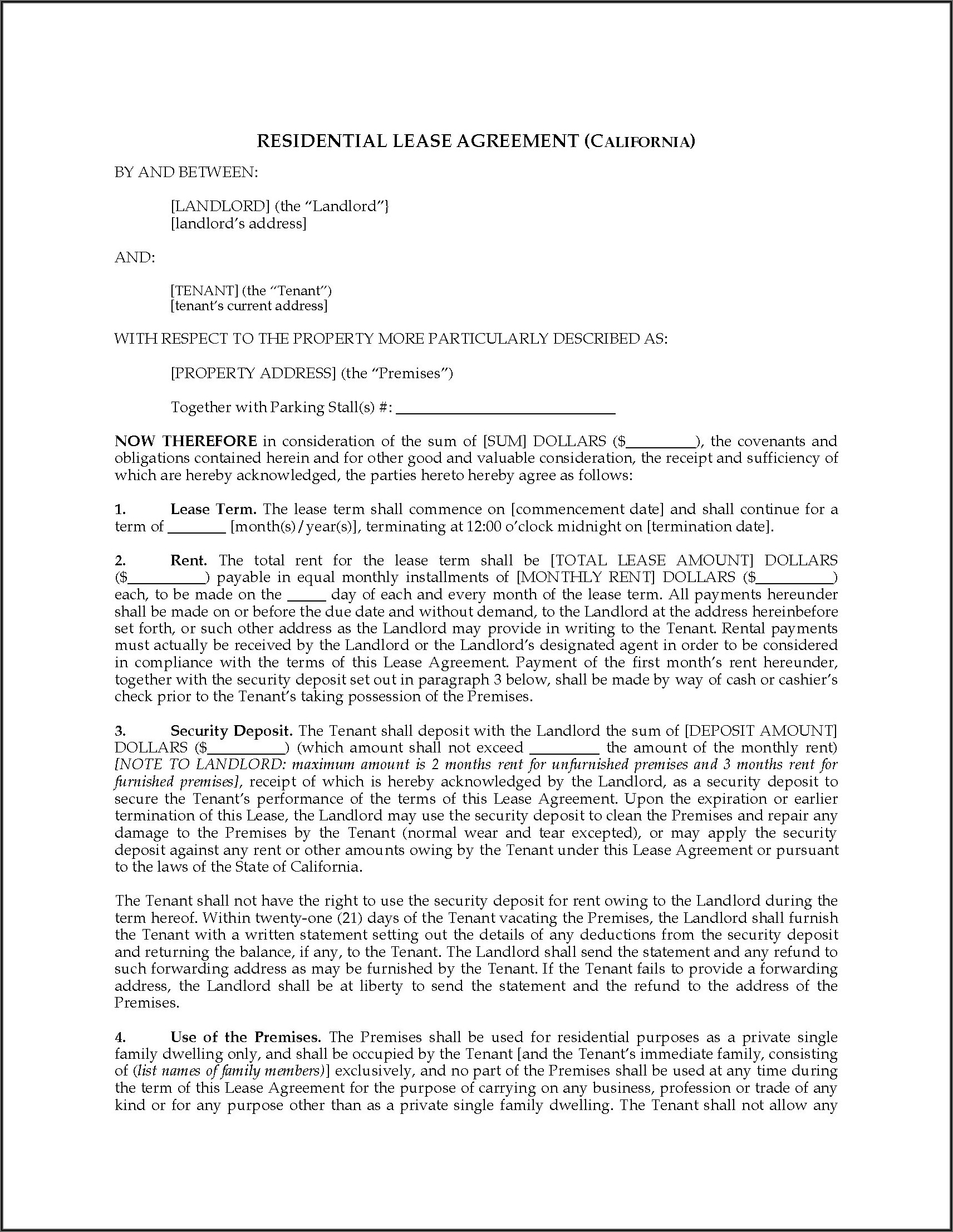 Residential Lease Forms California