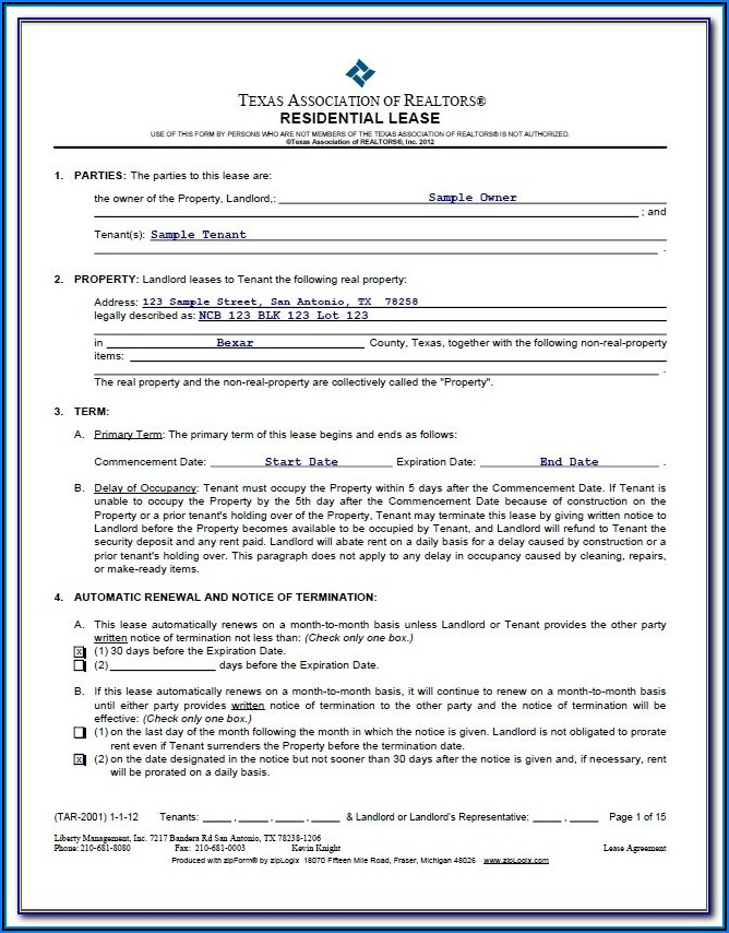 Residential Lease Forms Texas