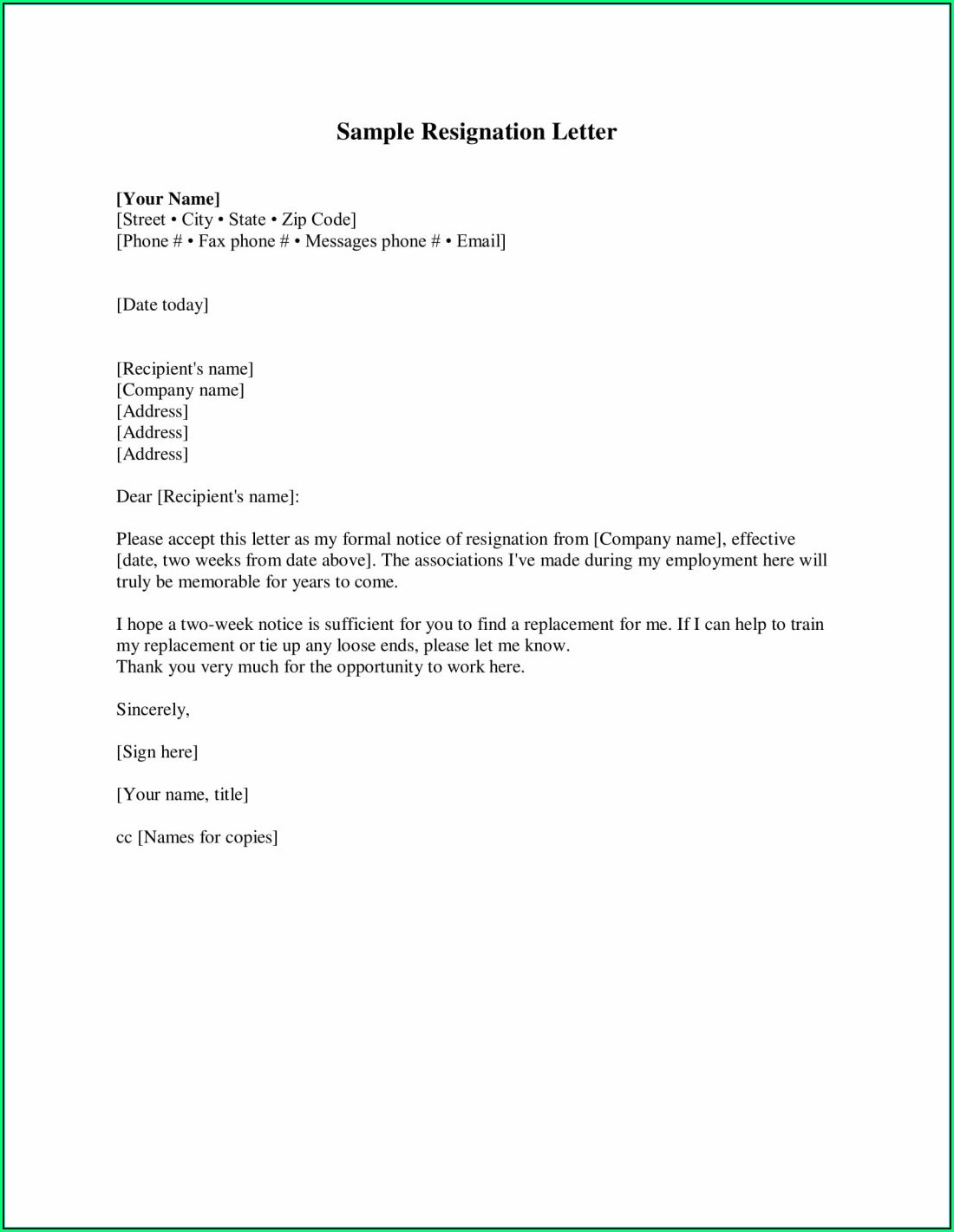 Resignation Letter Template Free Pdf