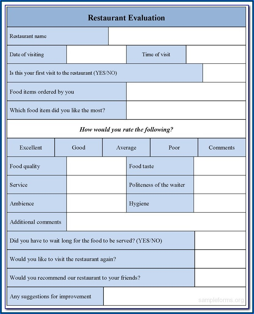 Restaurant Customer Feedback Form Template