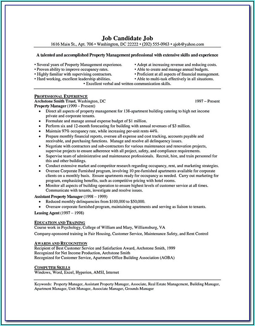 Resume Builder Construction Manager