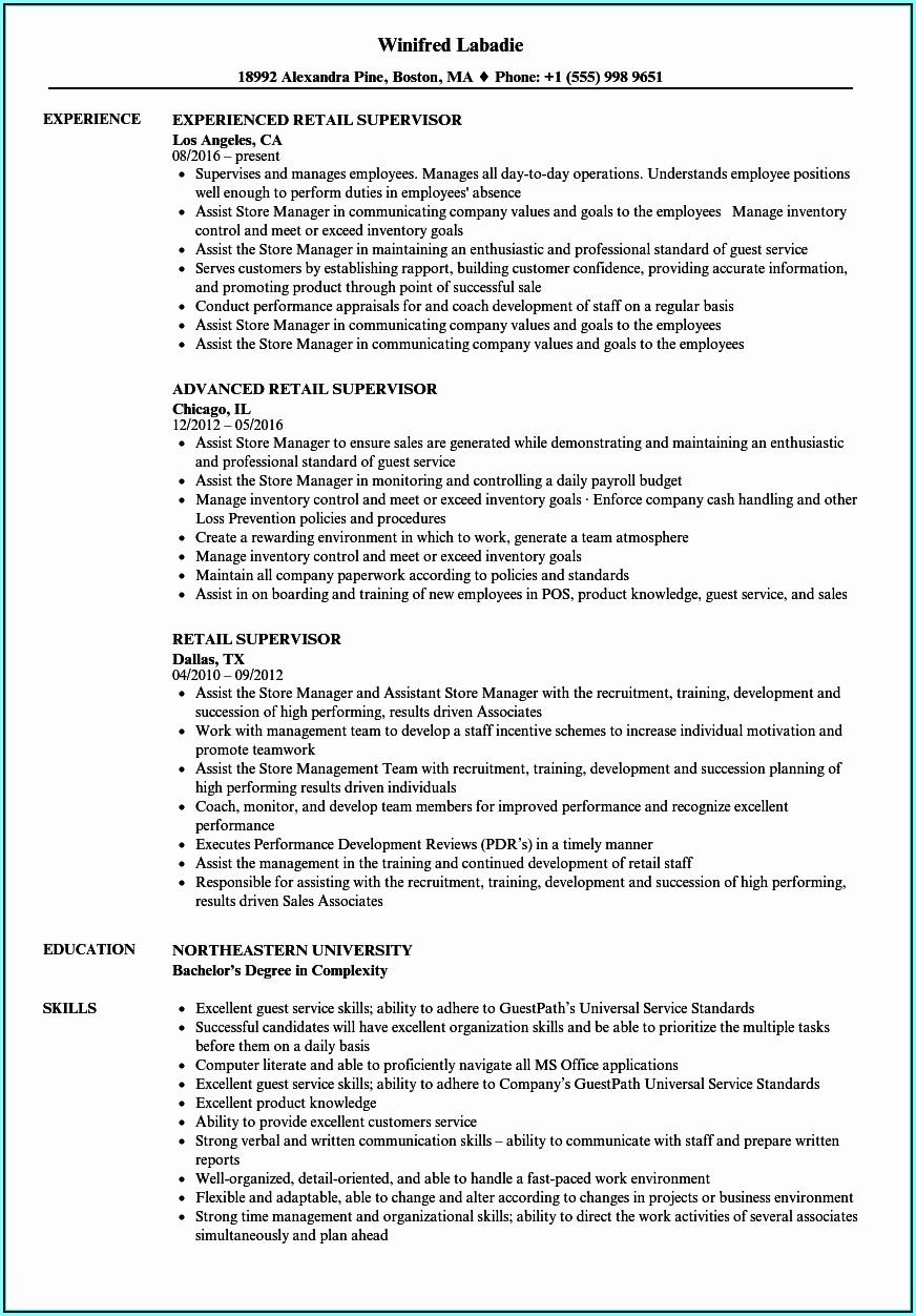 Resume Example For Part Time Job