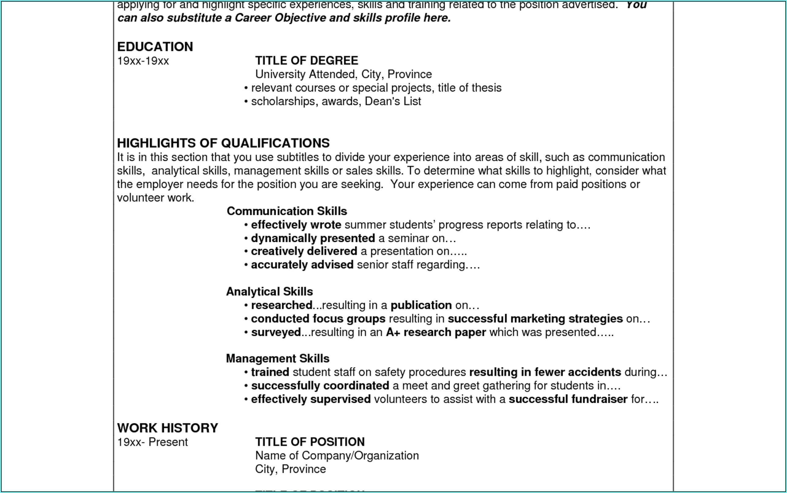 Resume Examples For Leadership Skills