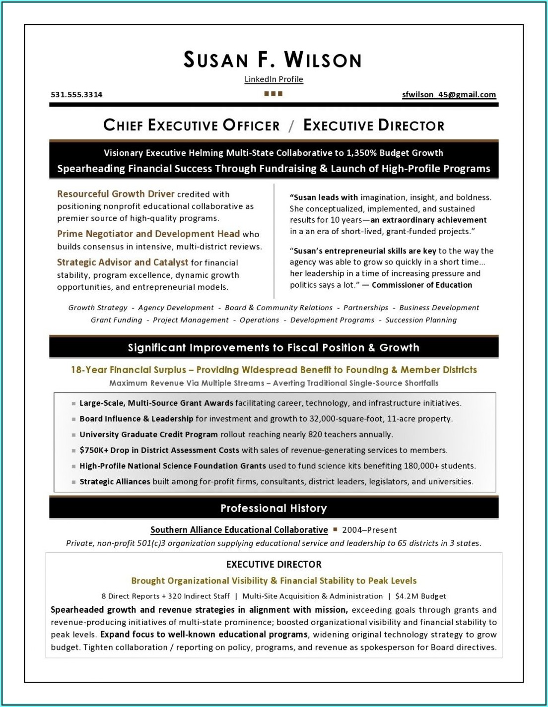 Resume Examples For Nonprofit Executives