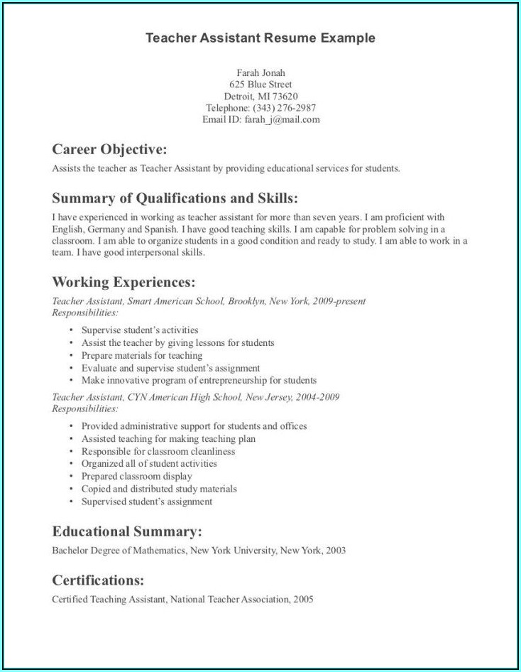 Resume For Teaching With Experience