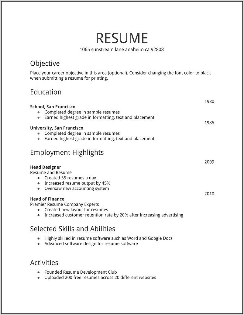 Resume Format Download In Ms Word Pdf