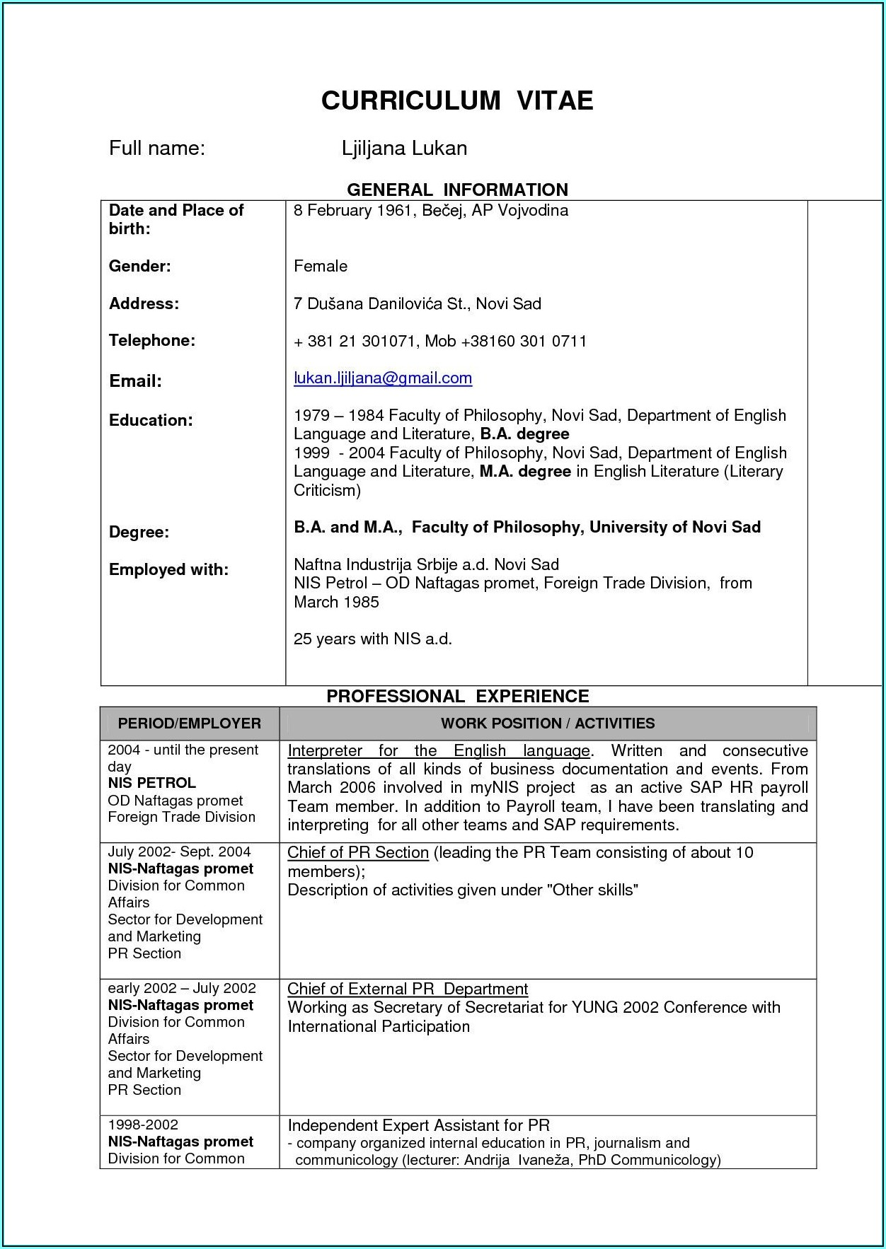 Resume Format For Engineers Free Download