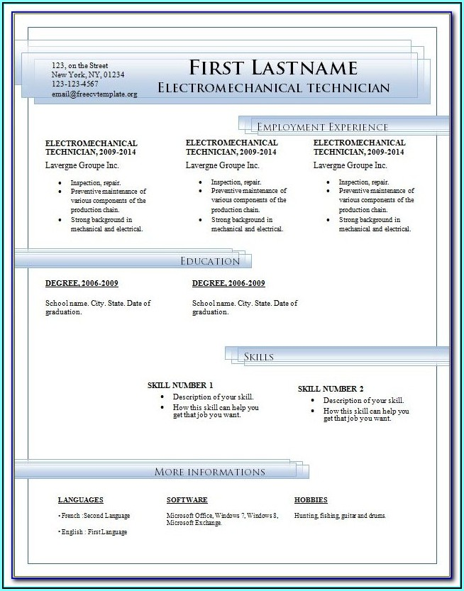 Resume Format For Fresher Teachers In Word Format
