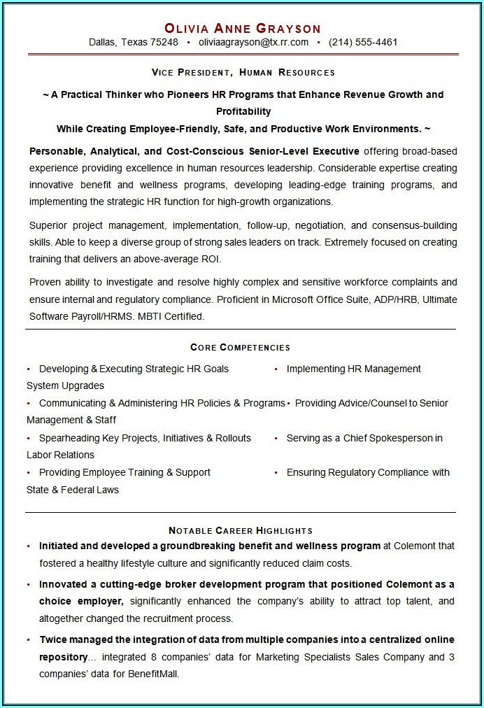 Resume Format For Hr Executive Job