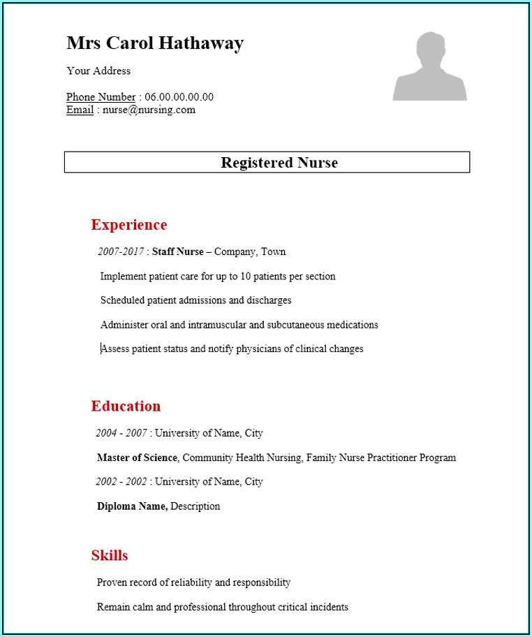 Resume Format For Nurses Word File