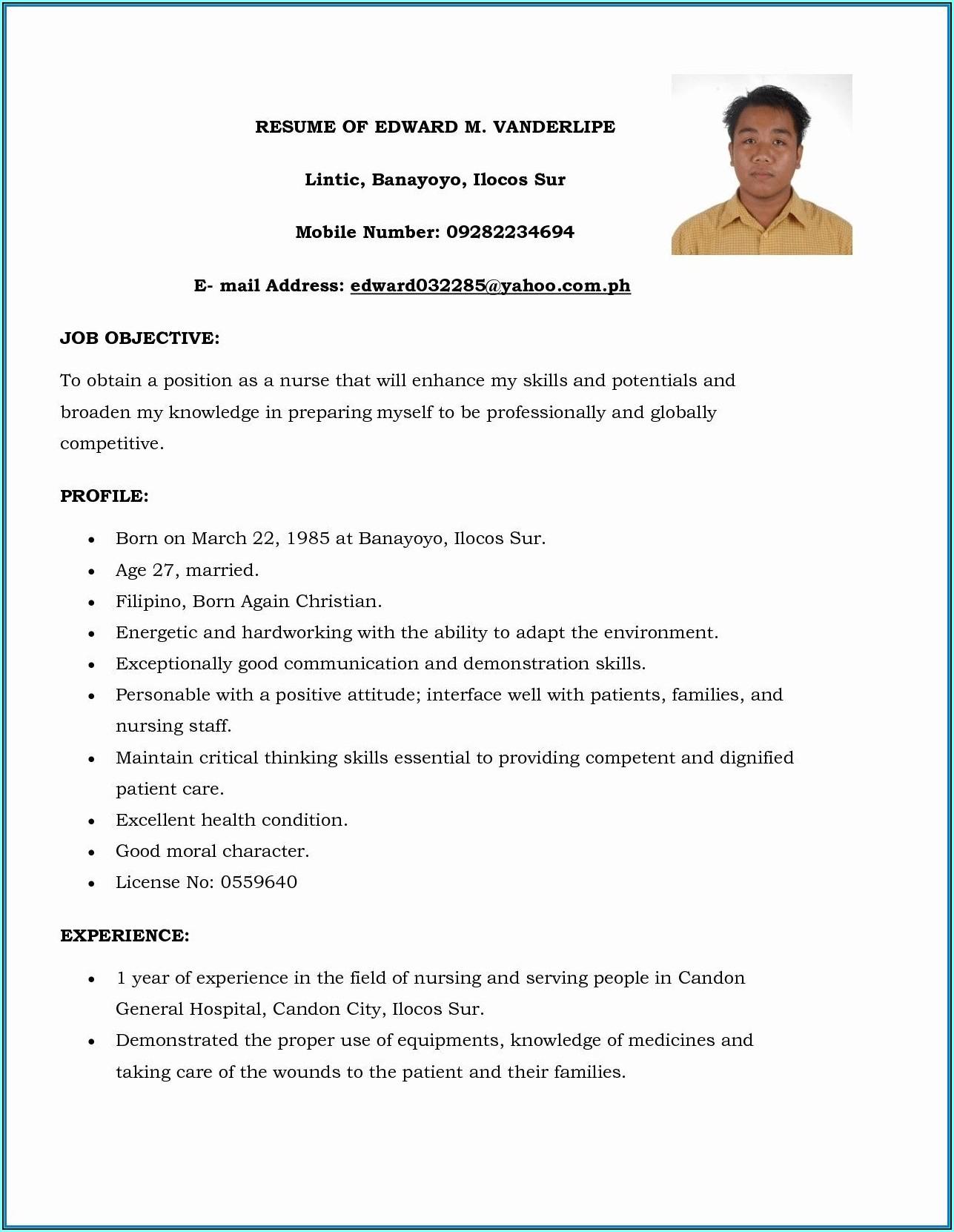 Resume Format For Nursing Staff