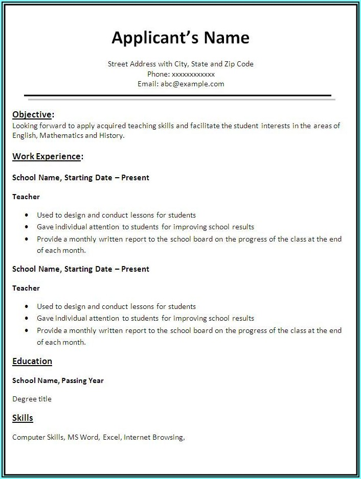 Resume Format For Teacher Job In Word File