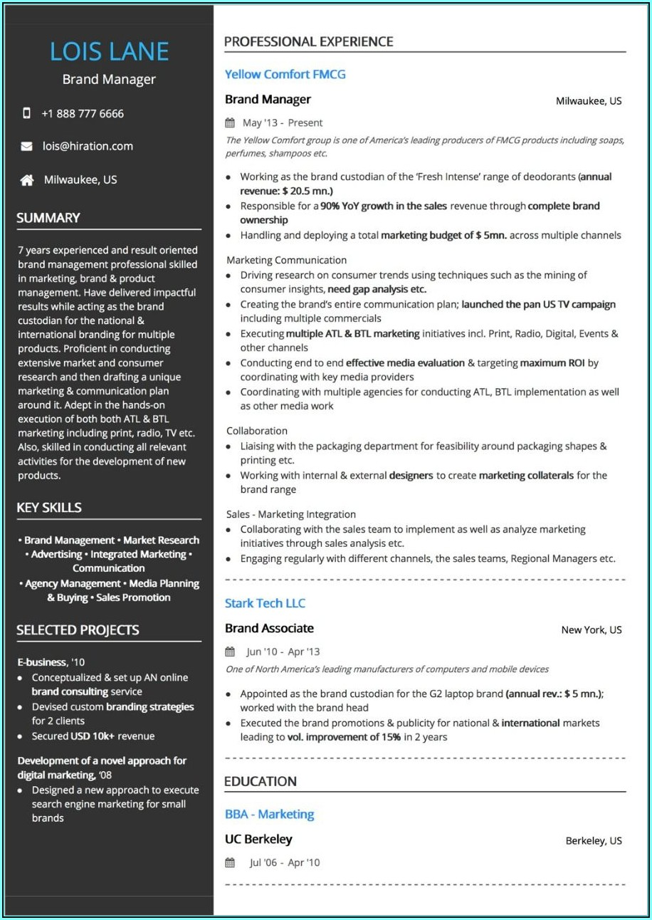 Resume Layout Examples 2019